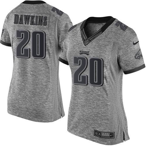 Nike Eagles #20 Brian Dawkins Gray Women's Stitched NFL Limited Gridiron Gray Jersey And #nfl jersey online shop legit