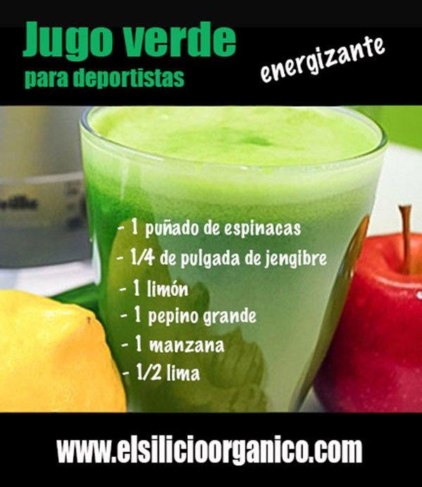 Un buen jugo verde cargado de energía para deportistas. #jugos #infografias #nutricion