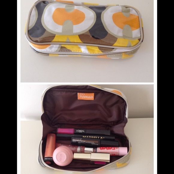 """Yellow Medium Cosmetic Case Unique design, full zipper closure, brown inside lining. Outside fabric is covered with plastic. Measures 7"""" Long length 1"""" Wide     3.5"""" Short length. People style watch brand. Bags Cosmetic Bags & Cases"""