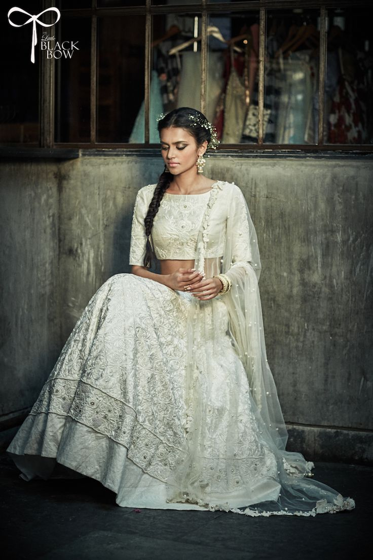 The Little Black Bow Ivory Georgette Embroidered Lehenga