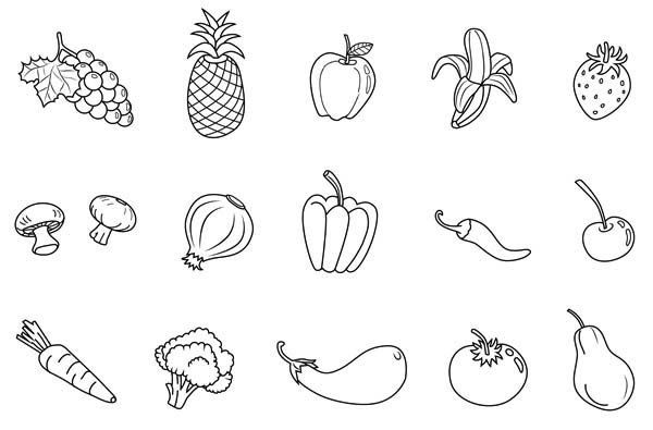 Fruits And Vegetables Coloring Pages Vegetable Coloring Pages