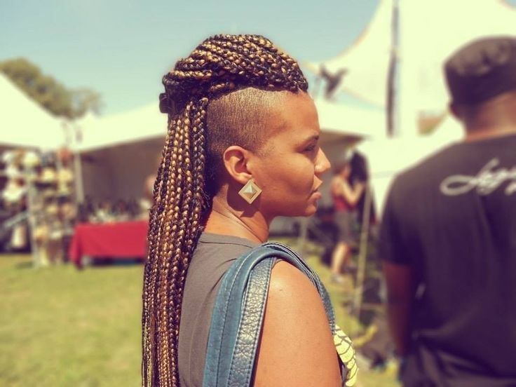 Box Braids with Shaved Sides Mohawk