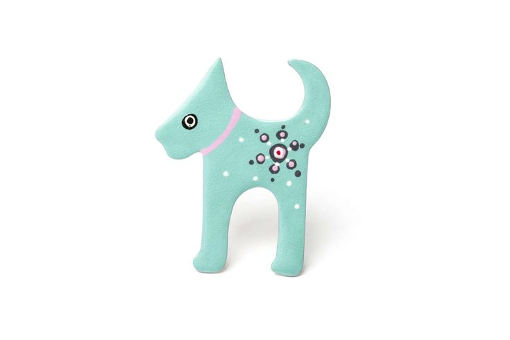 Hand Painted Dog Pin, Enamel Brooch, Animal Pin, Dog Badge, Costume Jewelry, Dog Lover Gift, Lapel Pin, Illustrated Pin, Turquoise Pin by CinkyLinky on Etsy