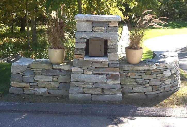 Stone Mailbox Entry Post at Driveway