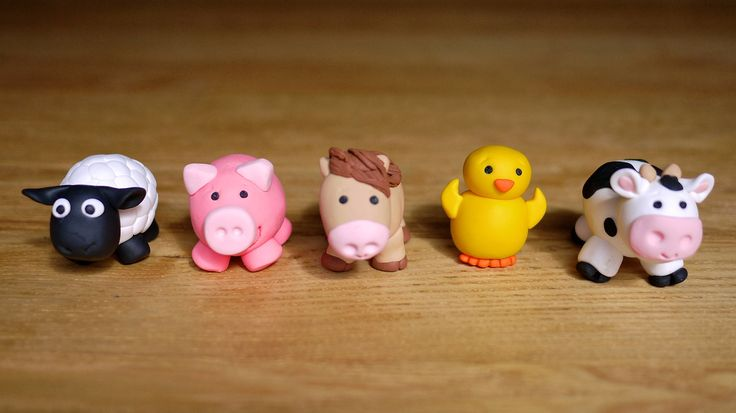 Handmade Farm Animal Cake Toppers made from fandant
