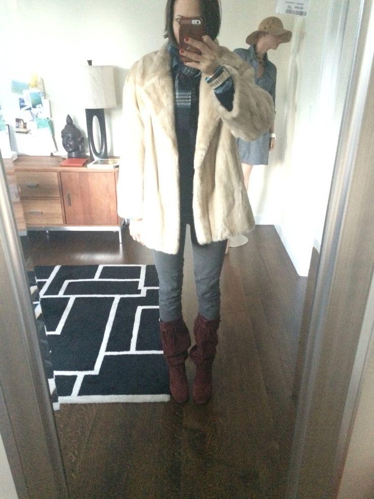 Vintage faux fur chunky, ultra plush blond coat, grey moto jeans Gap, Michael Kors marsala slouchy tall boots, plaid wool scarf
