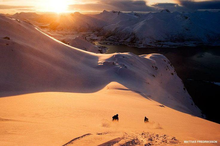 Aksel Lund Svindal and Asbjorn Eggebo Naess ski to the sea in #Lofoten, Norway, shot by Mattias Fredriksson Photography.