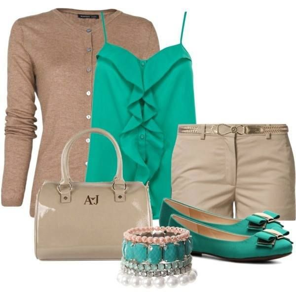 I would try to find a jacket in that color though instead so that I wouldn't cover up the shirt. :) but if you wanted to just wear the button up shirt with the shorts and a blue handbag, that would be cute too.