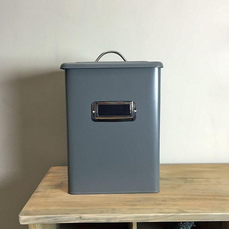 state grey metal storage bin