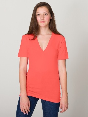 American Apparel unisex sheer jersey short sleeve deep v-neck in coral    These are my favourite shirts!!