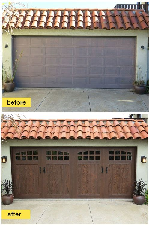 Super-charge your curb appeal instantly with a garage door makeover like this one featuring a Clopay Canyon Ridge Collection faux wood carriage house door | via HomeFixated.com.