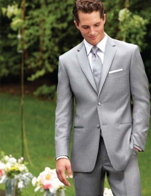 High Quality Two Button Light Grey Groom Tuxedos Groomsmen Mens Wedding Suits Prom Bridegroom (Jacket+Pants+Vest+Tie) NO:1129