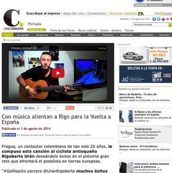 Muchas gracias a EL COLOMBIANO por la nota... Gracias por el apoyo #alogrande