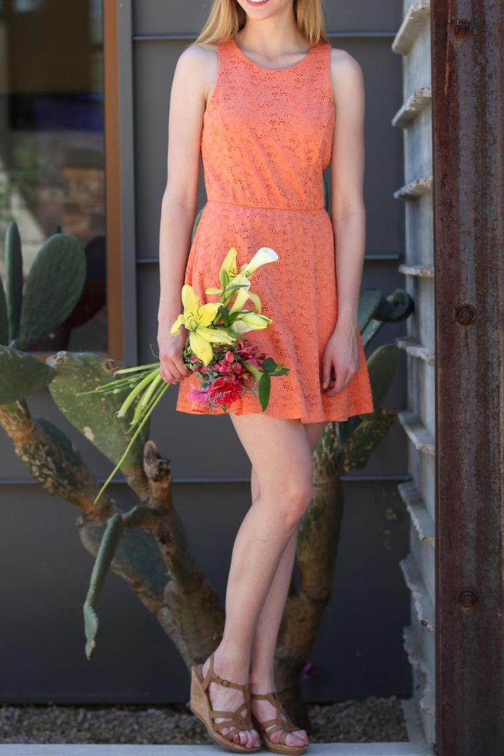 Coral Lace Dress - main
