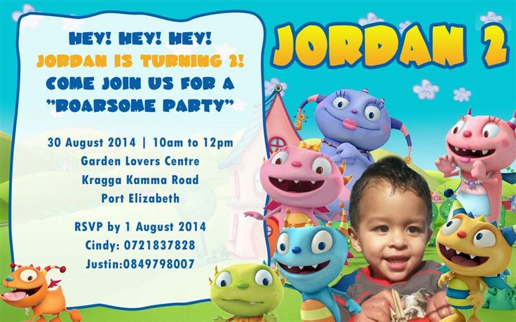 Roarsome Hugglemonster Invite... by: Kiddies  Party Themes...