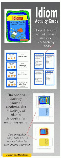 Literacy & Math Ideas: Idiom Activity Cards: A Great Tool For Common Core RL.4 and RI.4