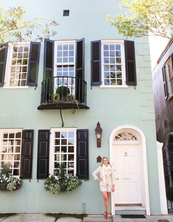 Beautiful Exterior Home Design Trends: Mint Green + White Trim + Black