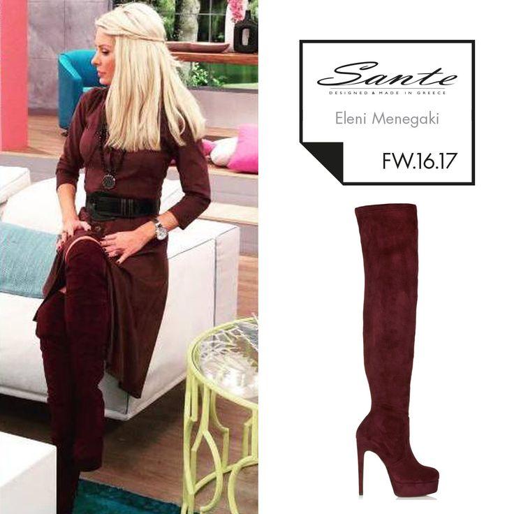 Eleni Menegaki (@elenimenegaki) in SANTE Over the Knee Boots styling by Georgia Sinacheri (@sinacheri) #SanteFW1617 #CelebritiesinSante Available in stores & online (SKU-94561): www.santeshoes.com