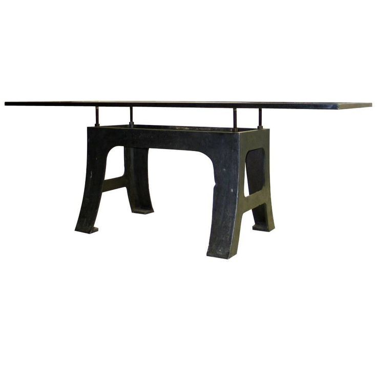 French Mid-Century Iron Dining Table with Cantilevered Glass Top by Saint Gobain