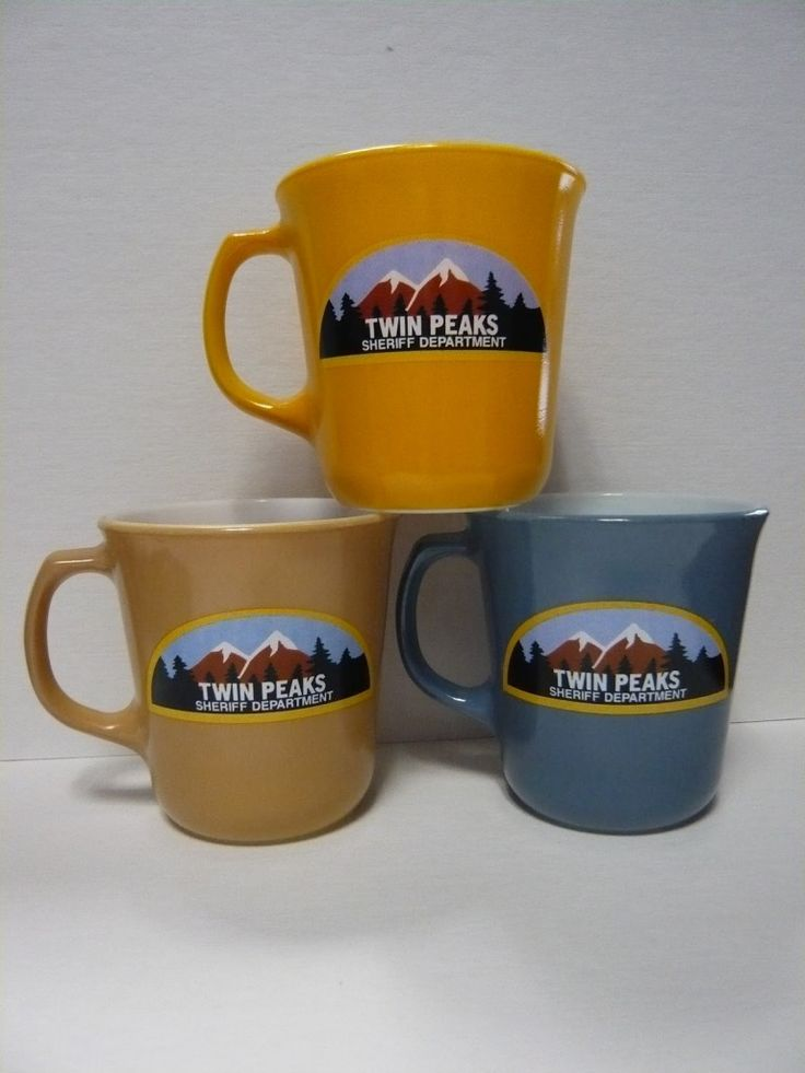 Official 2012 Twin Peaks merchandise going on sale: Sheriff Department and Double R mugs and a Twin Peaks: Fire Walk With Me doorway print.