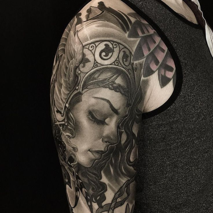 Valkyrie sleeve by Oleg Turyanskiy @turyanskiy at Off the Map Tattoo Northampton MA. @offthemaptattoo . #tattoosnob #tattoo #valkyrie #valkyrietattoo #offthemaptattoo #northamptonma #blackandgreytattoo #olegturyanskiy