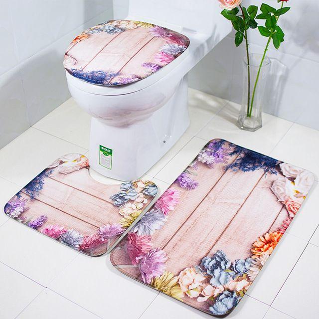 3pcs Set Creative Bath Mat And Toilet Cover Bathroom Retro