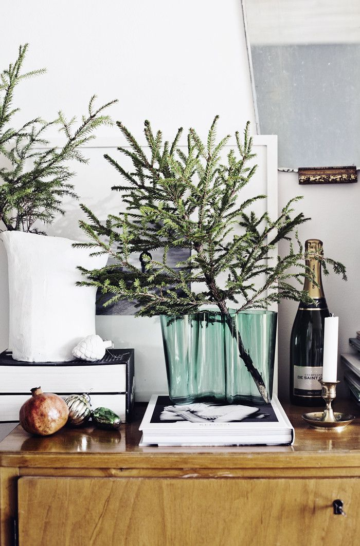 a little bit of holiday greenery goes a long way...especially with a bit of bubbly...