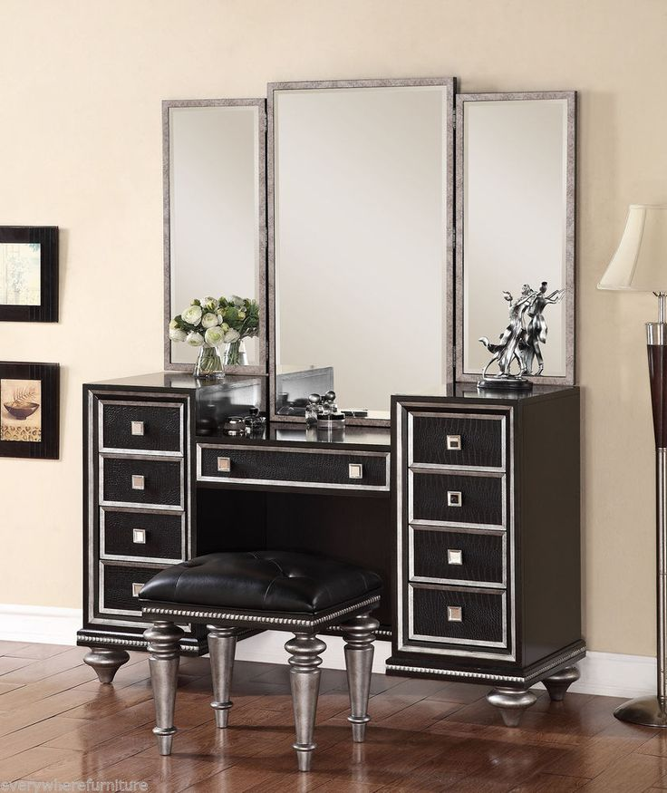 Hollywood Regency Glam Mirrored Console Cabinet Vanity Table Black Furniture Hollywood Regency