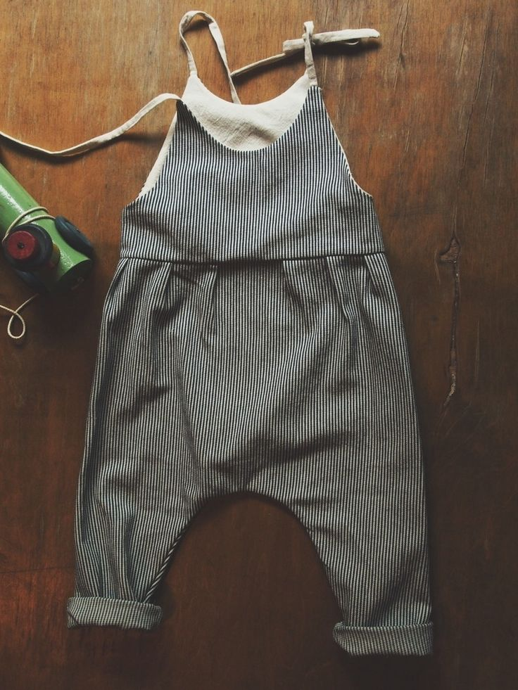 Striped denim baby overalls for mum to make!