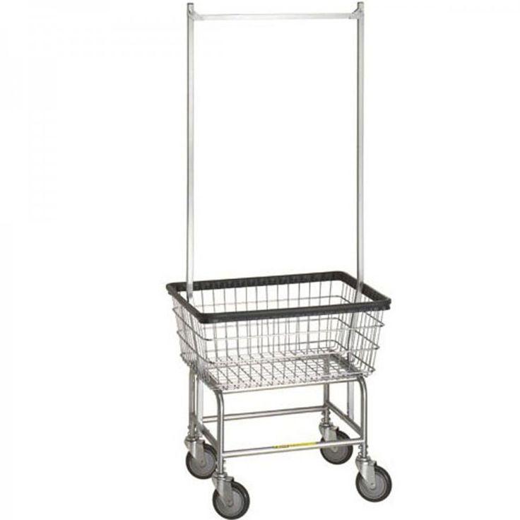 R&B Rolling Standard Laundry Cart/Chrome Basket P/N 100E58 Comml Laundry Basket w/Dbl Pole Rack on Wheels