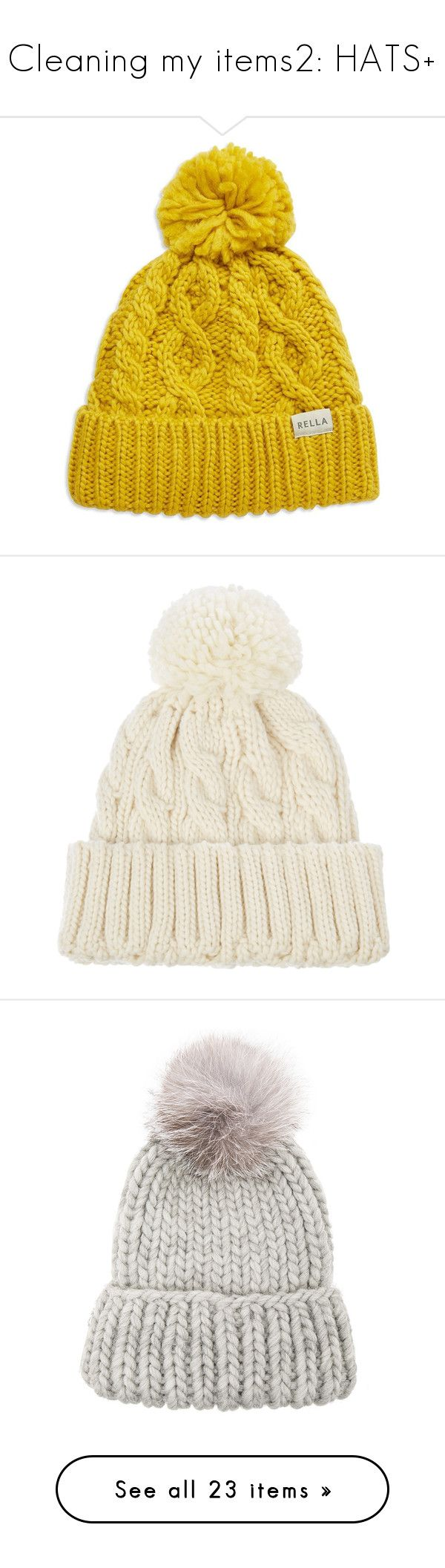 """Cleaning my items2: HATS+"" by emilypondng ❤ liked on Polyvore featuring accessories, hats, beanies, yellow, pom pom hat, pom pom beanie hat, yellow hat, cable beanie, yellow beanie and beanie"