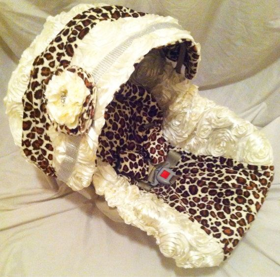 Custom Boutique Girls Infant Car Seat Carseat Cover, Canopy, Head Rest, Chest Strap Covers, Rosette and Leopard on Etsy, $65.00
