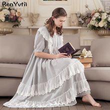 RenYvtil Victoriaanse vintage verstoorde lange nachtjapon zoete prinses katoen homewear kant zachte nachtkleding sleepshirts(China)