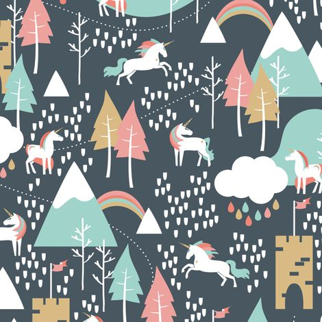 Unicorn Love - Small Scale fabric by papercanoedesign on Spoonflower - custom fabric