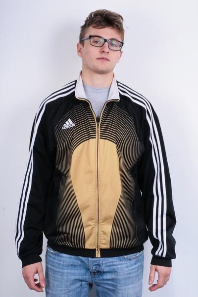 Adidas Mens 44/46 Sweatshirt Black Gold Stripes Full Zipper Jacket Tracksuit Sportswear - RetrospectClothes
