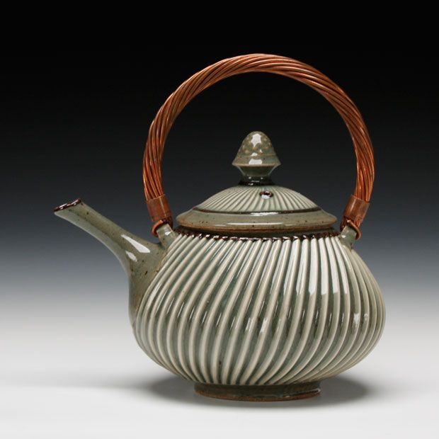 Schaller Gallery : Artist : Mark Williams : Teapot with Copper Wire Handle