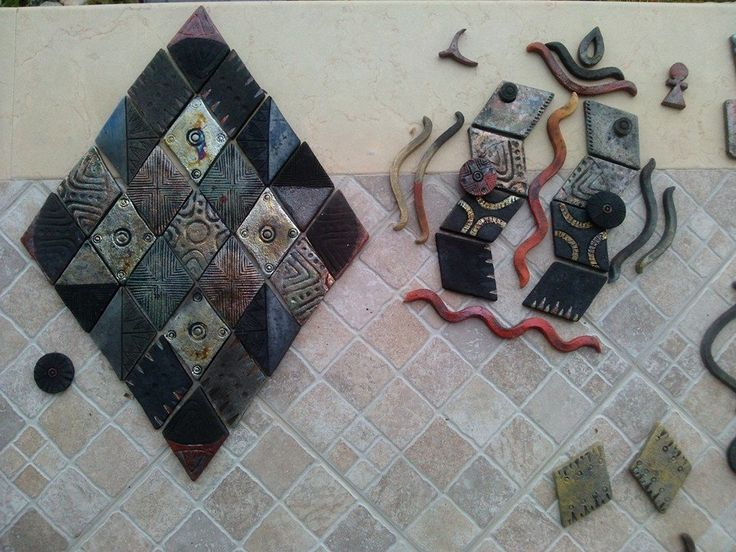 Rhombus collage and other artistic representations.