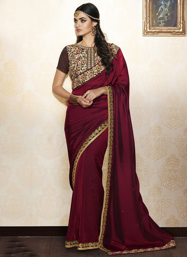 Maroon wholesale fancy saree with lace border work