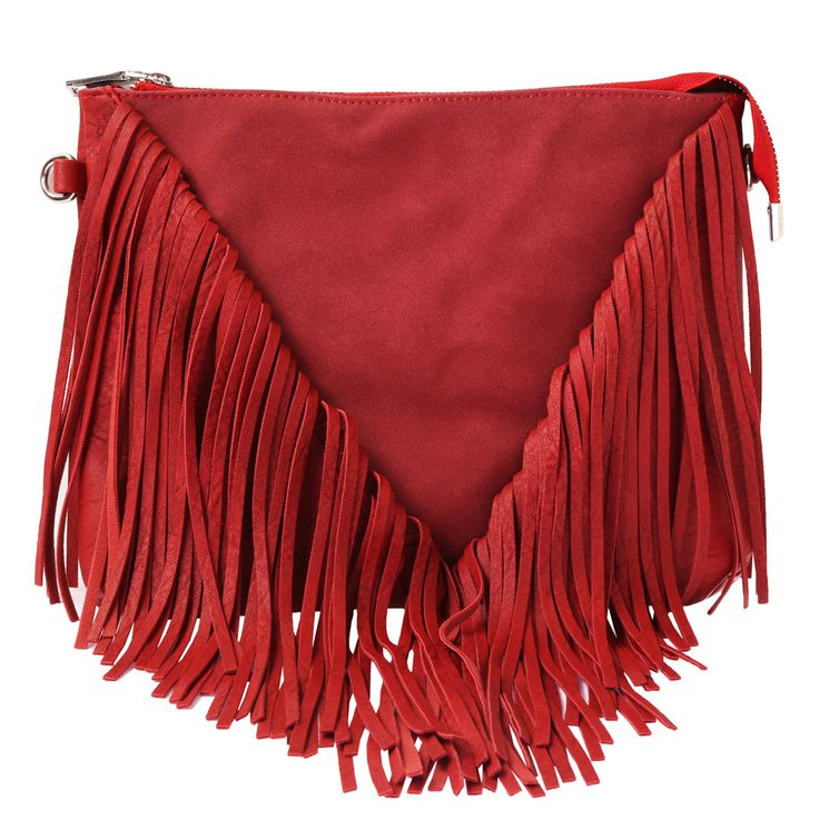 Schmick Red PU #Leather Cross Body Fringe #Bag For #Women