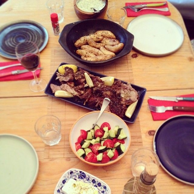 greek feast w lamb, fetta cheese, salad, lemon kipfler potatoes