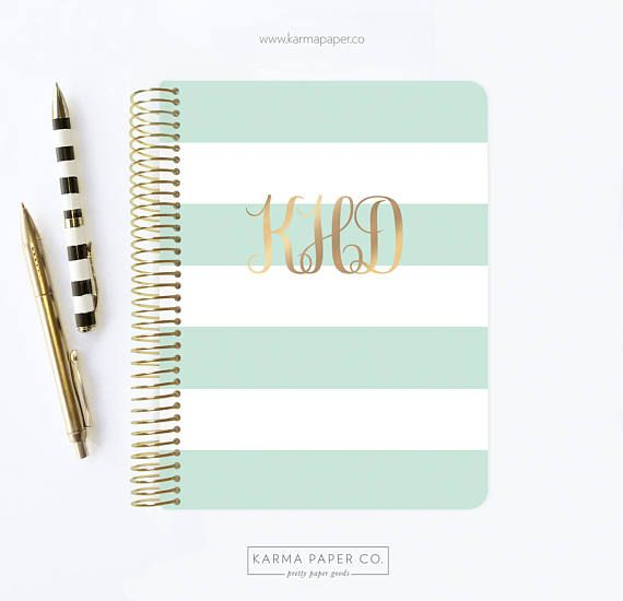 2017  2018 Planner  Monogram Planner  12 Month Planner