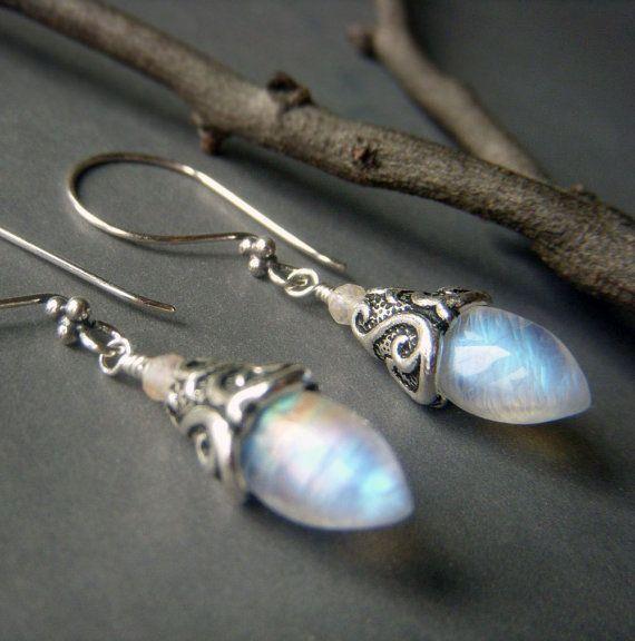 Rainbow Moonstone Earrings Sterling Silver Fiery Flashy Blue Marquise Shape Dangle Genuine Jewelry Rings Blings