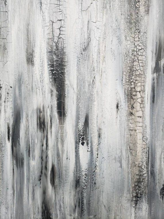 White And Gray Abstract Texture Painting By Amy Neal 24 x 24