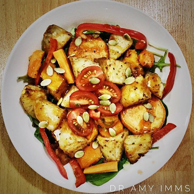 Day 21 - dinner - sweet and sour roast vegetable salad #30dayfoodchallenge #wholefoods #plantbased #vegan