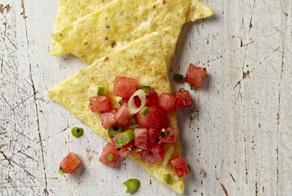 This spicy-sweet watermelon salsa is a surprising twist on the usual tomato-based one. Photo by Ryan Brook.