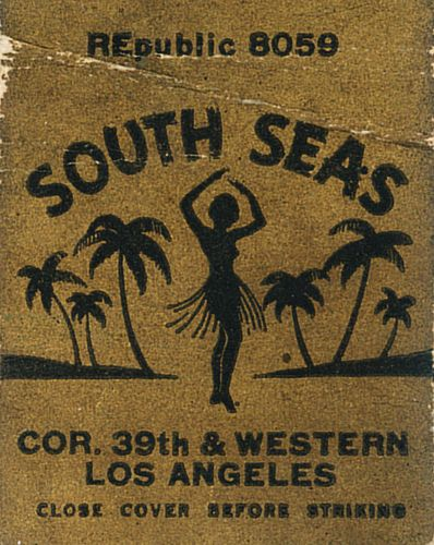 South Seas, Los Angeles #matchcover by jericl cat To design & order your own logo'd #matches GoTo www.GetMatches.com