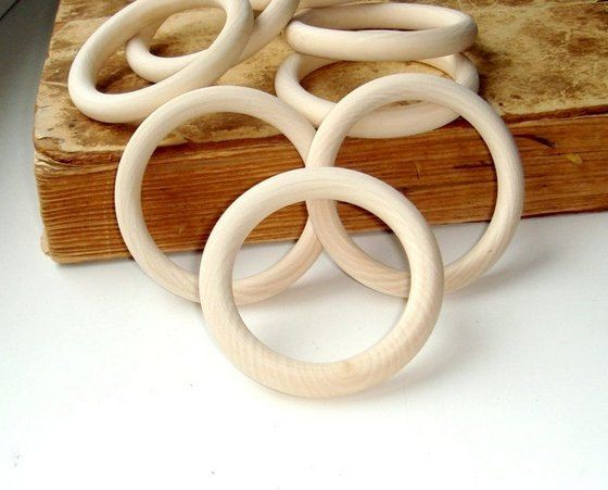 Wood Rings  3 inch Unfinished Wooden Rings  by MiracleFromThreads, $12.00