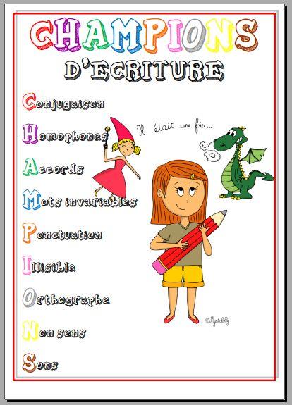 """Code et outil de correction """"CHAMPIONS D'ECRITURE"""" - La classe d'Eowin"""