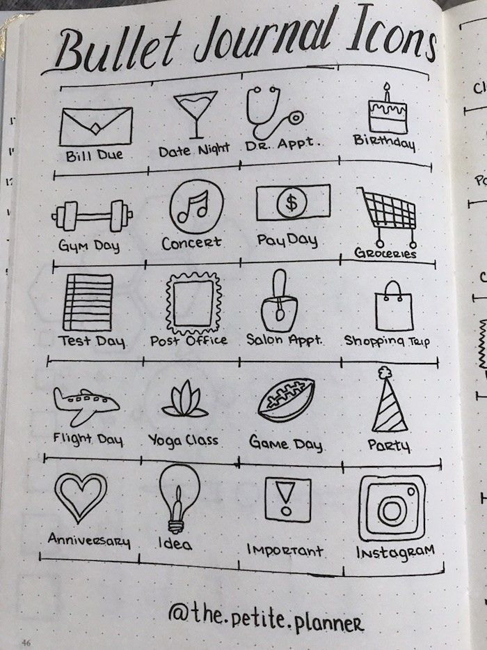 46 Icons for Your Bullet Journal - The Petite Planner - Planning Icons for Your. - Bullet Journal Ideas - 46 Icons for Your Bullet Journal – The Petite Planner – Planning Icons for Your Bullet Journal - Bullet Journal Icons, Bullet Journal Notebook, Bullet Journal Spread, How To Start A Bullet Journal, Bullet Icon, Bullet Journal Hand Lettering, Journal Inspiration, Journal Ideas, Sketch Note