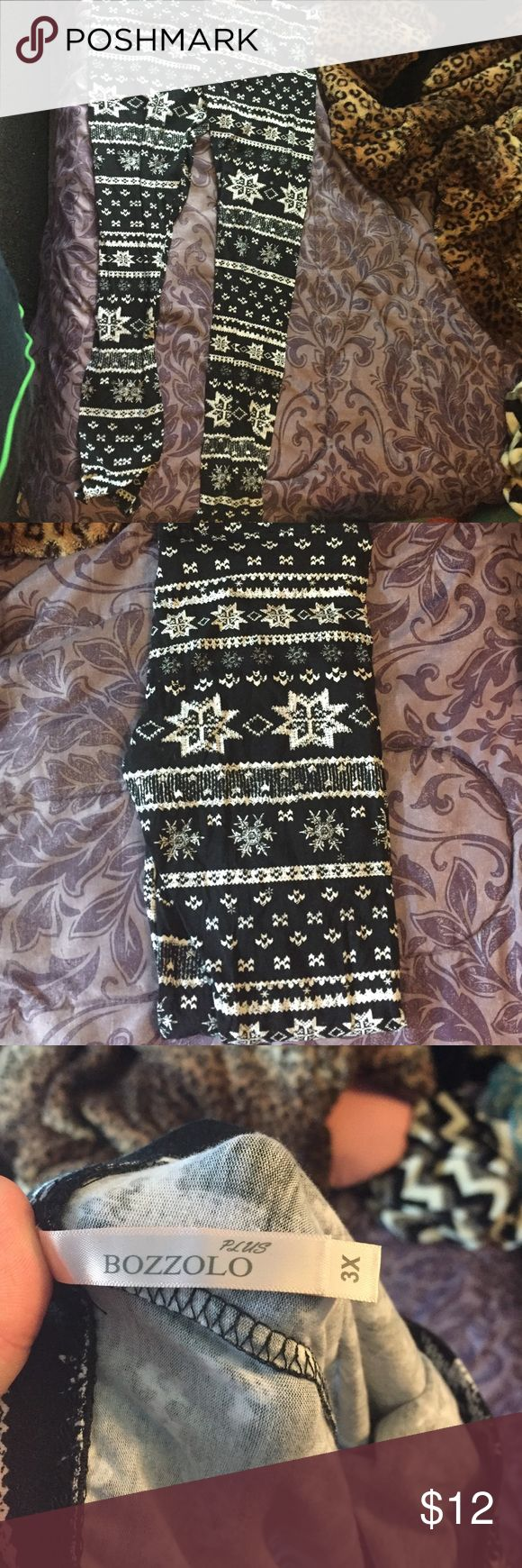 Bozzolo Plus Black and white Christmas leggings Bozzolo Plus black and white Christmas print leggings. Size 3x but fit like a 2x. Only ever tried on, never worn. Purchased from Deb. Deb Pants Leggings